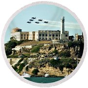 Alcatraz Blues Round Beach Towel