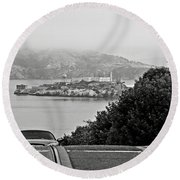 Alcatraz Island From Hyde Street In San Francisco Round Beach Towel by RicardMN Photography