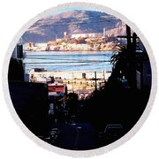 Alcatraz - So Close Yet So Far Round Beach Towel