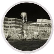 Alcatraz The Rock Sepia 1 Round Beach Towel