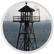 Alcatraz Watchtower Round Beach Towel