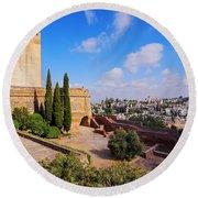 Alcazaba In Granada Round Beach Towel