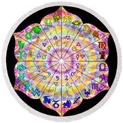 Alchemical Lotus Zodiac Round Beach Towel