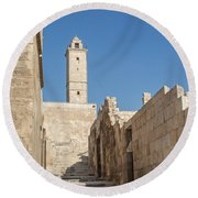 Aleppo Citadel In Syria Round Beach Towel