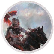 Alexander The Great  Round Beach Towel