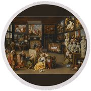Alexander The Great Visiting The Studio Of Apelles Round Beach Towel