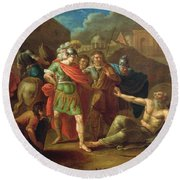 Alexander The Great Visits Diogenes At Corinth, 1787 Oil On Canvas Round Beach Towel