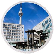 Alexanderplatz View On Television Tower Berlin Germany Round Beach Towel