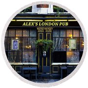 Alex's London Pub Round Beach Towel