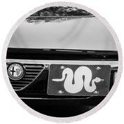 Alfa Romeo Grille Emblem -0287bw Round Beach Towel