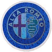 Alfa Romeo Rainy Window Visual Art Round Beach Towel