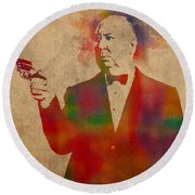 Alfred Hitchcock Watercolor Portrait On Worn Parchment Round Beach Towel