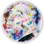 Alfred Hitchcock Watercolor Portrait.1 Round Beach Towel