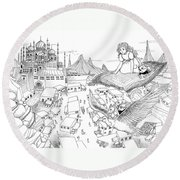 Ali Baba Cover Sketch Round Beach Towel