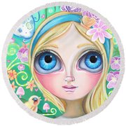 Alice In Pastel Land Round Beach Towel