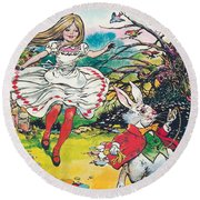 Alice In Wonderland Round Beach Towel by Jesus Blasco