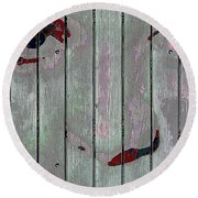 Alice On The Fence Round Beach Towel