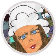Alice The Waitress Round Beach Towel