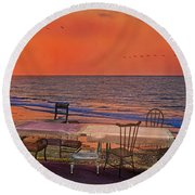 Alice's Topsail Island Tea Round Beach Towel