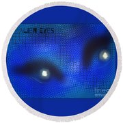 Alien Eyes 2 Round Beach Towel