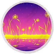 Alien Fire Flowers Round Beach Towel
