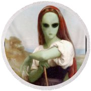 Alien Shepherdess Round Beach Towel