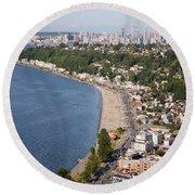 Alki Beach And Downtown Seattle Round Beach Towel
