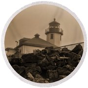 Alki Lighthouse Round Beach Towel