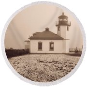 Alki Point Lighthouse Round Beach Towel