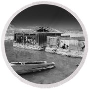 All Aboard Black And White Round Beach Towel