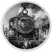 All Aboard Bw Round Beach Towel