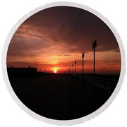 All Along The Boardwalk Round Beach Towel