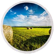 All American Hay Bales Round Beach Towel