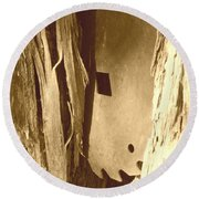All Caught Up Sepia Round Beach Towel