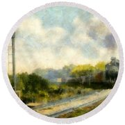 All Clear On The Pere Marquette Railway  Round Beach Towel