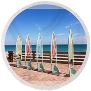 All In A Row Too Round Beach Towel