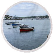 All Lined Up Round Beach Towel