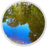 All Pond Treeflections Round Beach Towel