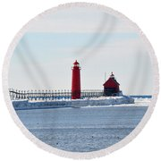 All Red Round Beach Towel