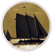 All Sails Sunset In Key West Round Beach Towel