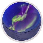 All-sky Aurora In The Twilight Round Beach Towel