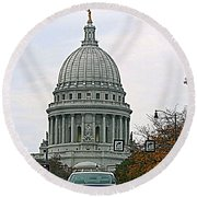 All Streets Lead To The Capital Round Beach Towel