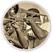 All That Jazz Sepia Round Beach Towel