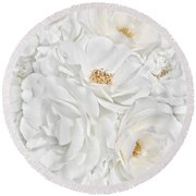 All The White Roses  Round Beach Towel