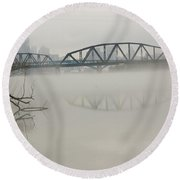 Allegheny In The Mist Round Beach Towel