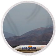 Allegiant At Palm Springs Airport Round Beach Towel
