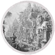 Allegorical Frontispiece Of Rome And Its History From Le Antichita Romane  Round Beach Towel by Giovanni Battista Piranesi
