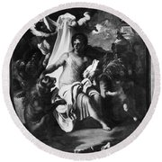 Allegory Of Africa Round Beach Towel