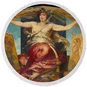Allegory Of Religious And Profane Painting  Round Beach Towel