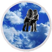 Allen And Steve In Clouds Round Beach Towel